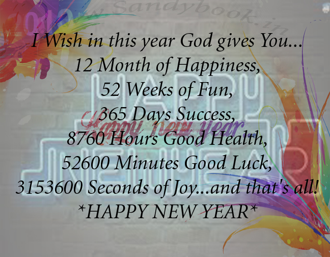 1 Year 12 Months 52 Weeks 365 Days Quotes: NEW YEAR SMS