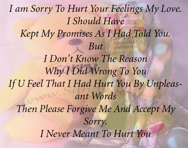 I Am Really Sorry My Love I am Sorry To Hurt Your