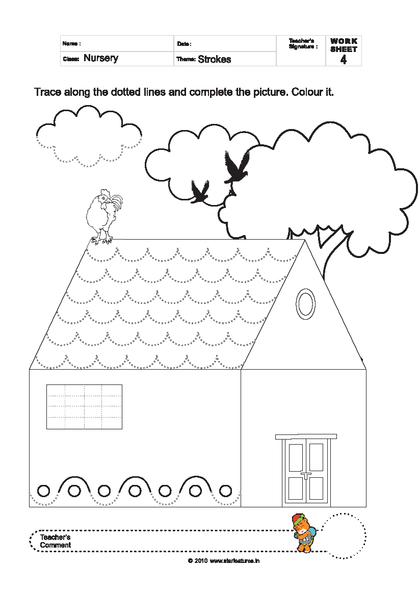 worksheet Tracing And Colouring Worksheets free pre primary worksheets trace colour