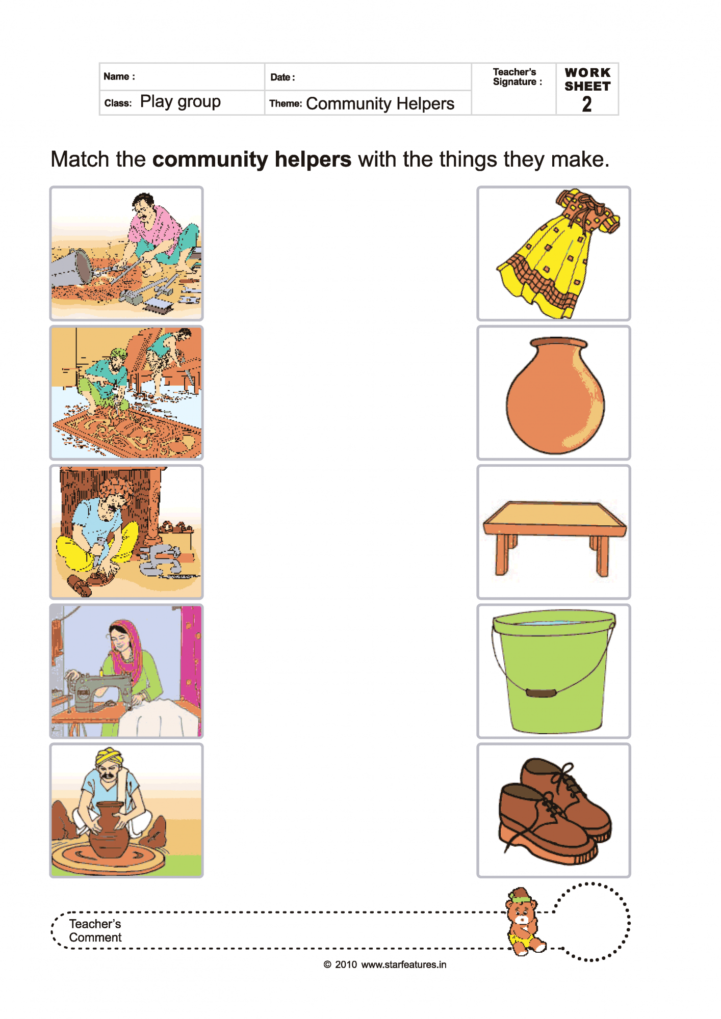 Worksheets Community Helpers Matching Printables Pictures to Pin – Community Helper Worksheets