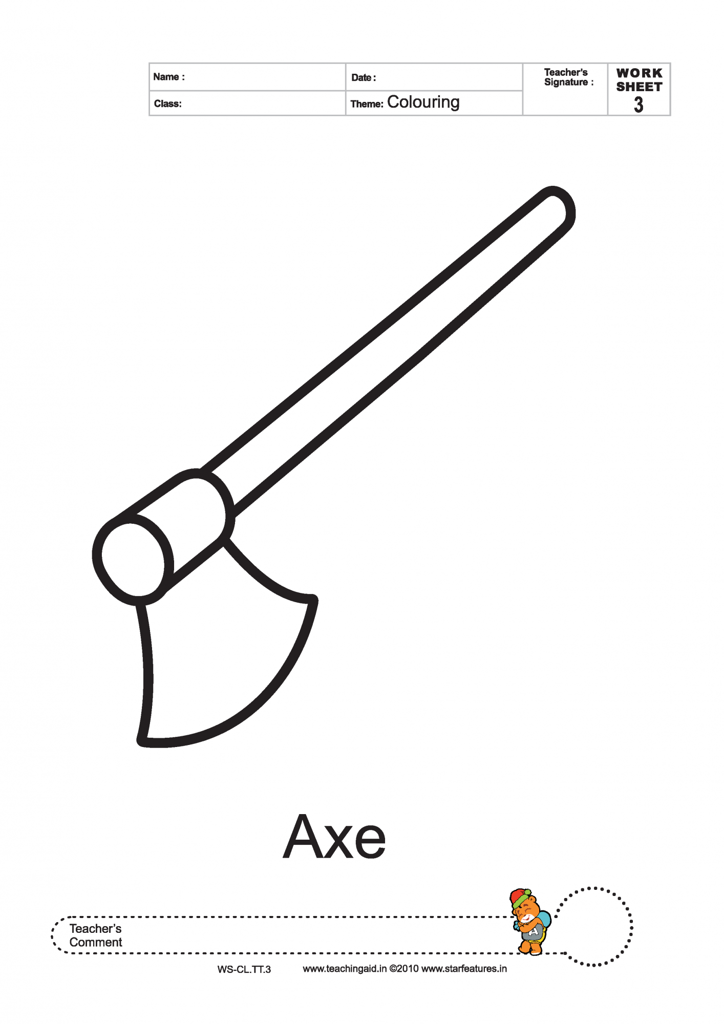 Axe Coloring Coloring Pages
