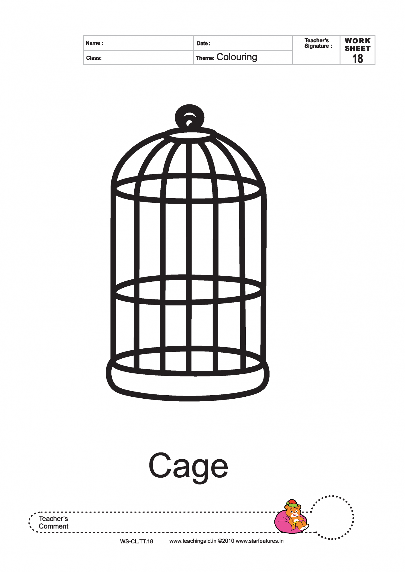 Coloring pages cage