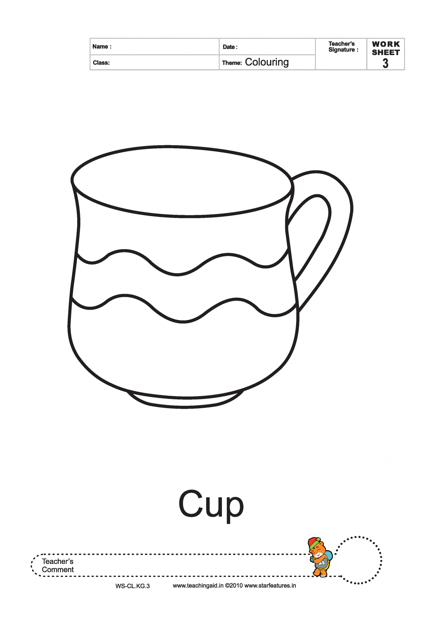 Free coloring worksheets for Cup picture for colouring